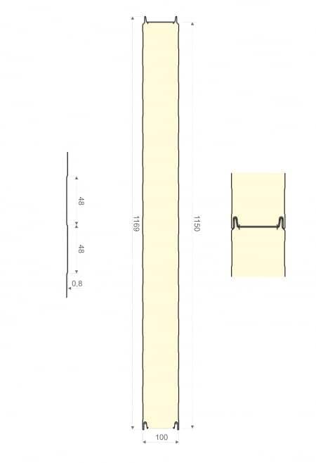 Polyuretaanielementti 100 x 1150 x 3000mm
