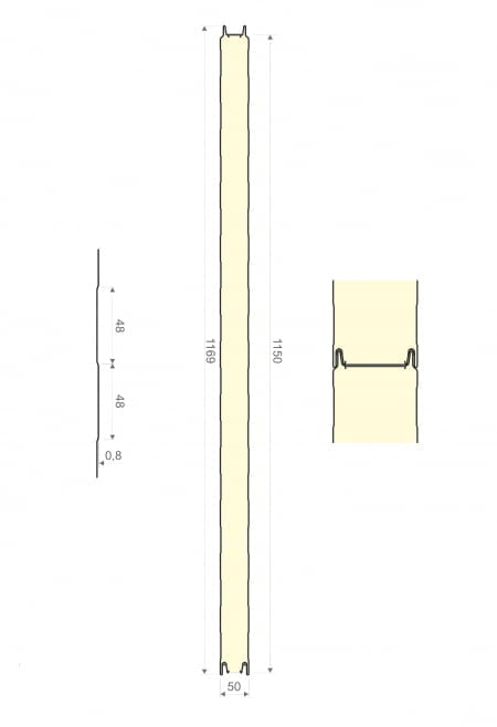 Polyuretaanielementti 50 x 1150 x 6000mm
